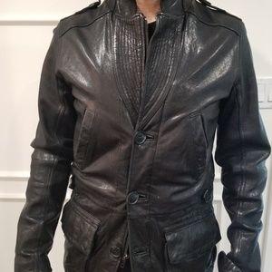 Black Men's leather jacket medium mirage